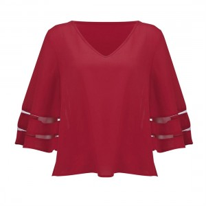 Fashion Mesh Patchwork Women T-shirt V-Neck Three Quarter Sleeve Loose Tops