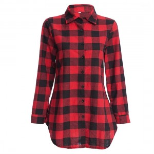 Female Lapel Long Section Plaid Shirt Women Slim Outerwear with Long Sleeves