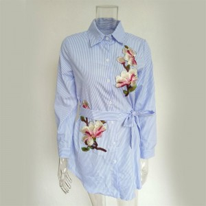 Floral Embroidery Long Sleeve Casual Turn-Down Collar Women Top Shirt Dress