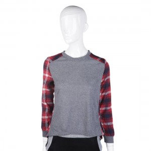 Autumn Women Stitching Plaid Long Sleeve Casual Loose O-Neck Cotton Blouse