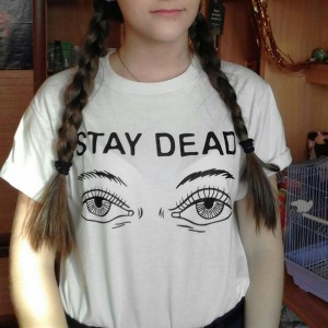 Fashion STAY DEAD Letter Printed T-shirts Short Sleeve Round Collar Loose Tee