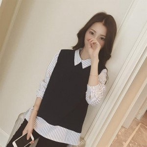 Two Piece Fake Blouses Strip Shirts Bottoming Long-sleeved Women's Clothing