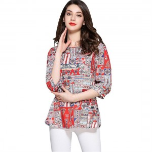 Ethnic Women T-shirt Matching Color Summer Tops Short Sleeve Printing Lady Top