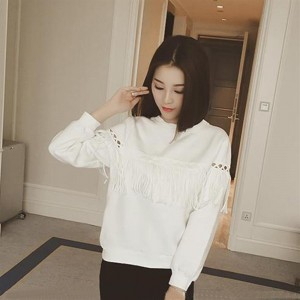 Women Loose Bottoming Shirt Long-Sleeved T-shirt with Tassels on Chest&Sleeves