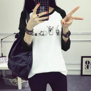 Long-sleeved O-neck Bottoming T-shirt with Cartoon Pattern Print for Women