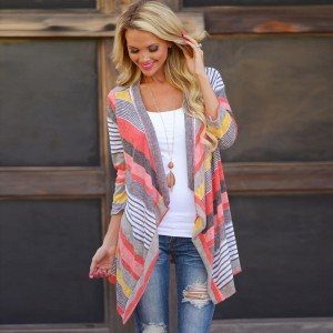 Fashion Bright Color Women Cardigan Ladies Autumn Tops Asymmetrical Blouse