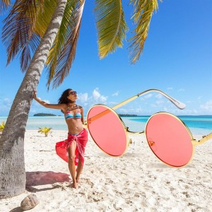Fashion Metal Frame Men Women Sunglasses Round Candy Color Lens Glasses