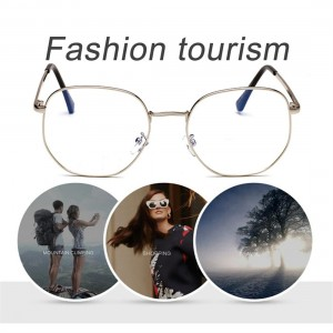 Fashion Women Myopic Glasses Frame Simple Oversize Metal Frame Resin Lens