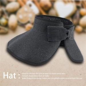 Ladies Women Summer Sun Beach Folding Roll Up Wide Brim Straw Visor Hat Cap