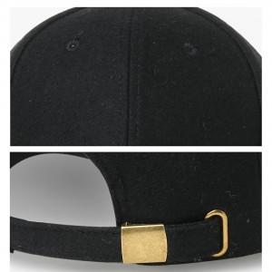 NUZADA Unisex Autumn Winter Solid Color Baseball Cap Black