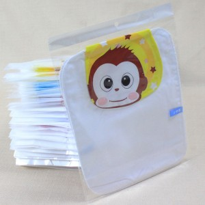 Baby Cartoon Sweat Absorbent Wicking Towel Baby Extra Large Size 4 Layers 42*28cm White