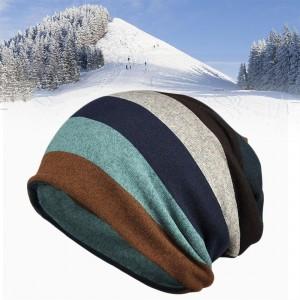 Double Layers Knitted Stripe Pattern Men Women Keep Warm Hats Beanies
