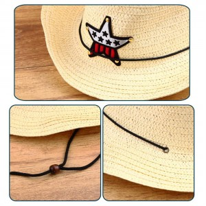 Children Western Cowboy Straw Sun Hat Wind-proof Cap Big Wide Brim Sunbonnet