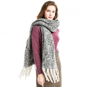 Fashion Thick Tassels Scarf with Assorted Colors Black