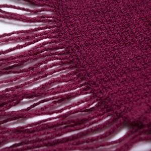 Monochrome Knit Burnoose Cape Wine Red