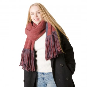 Long Tassels Imitation Cashmere Scarf with 2 Colors
