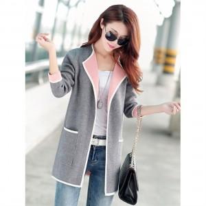 Autumn Winter Medium Length Knitting Cardigan Loose Long Sleeve Coat for Women