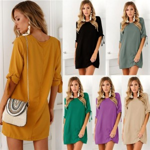Autumn Fashion Women Solid Color Dress Sexy Ladies Round Neck Female Dress